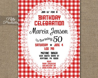 Red Birthday Invitations - Picnic Gingham 30th 40th 50th 60th Birthday Invites 70th 80th 90th - Country Rustic Summer Birthday Invitation