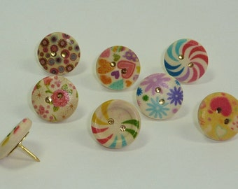 Decorative Push Pins, Button Drawing Pins, Thumbtacks, Pin Board Pins