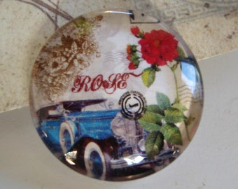 Old Automobile Rose Glass 20mm cabochon