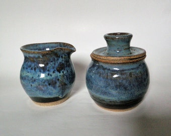 Blue Cream and Sugar Set