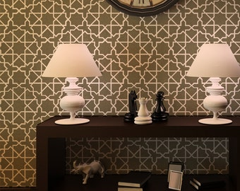 Moroccan Wall Stencil Esther for DIY Project - Wallpaper Look and Easy Decor