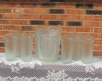 Diamond Point Crystal Pitcher and Set of 6 Glasses ~ Indiana Glass Crystal ~ Heavy Beverage Set ~ Large Crystal Pitcher~1970's Clear Crystal