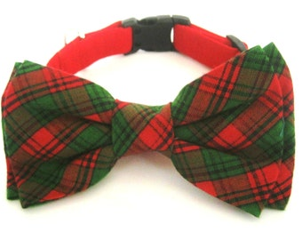 Red dog collar Dog collar with bow tie Red dog collar with plaid bow tie Bow tie collar Pet collar Dog Gift for dog