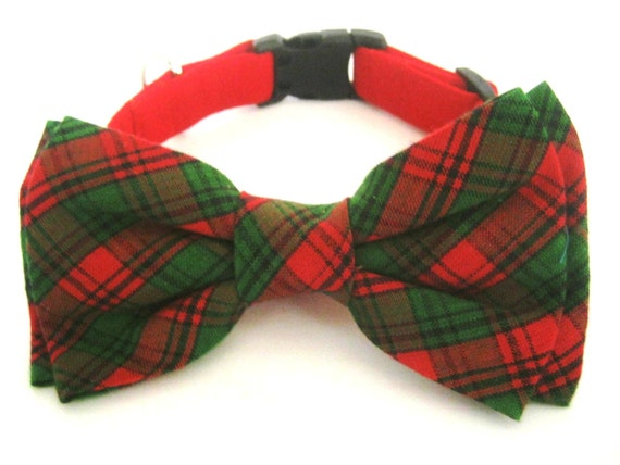 Christmas dog collar Holiday collar with bow tie Red dog collar with plaid bow tie Bow tie collar Pet collar Dog Christmas gift