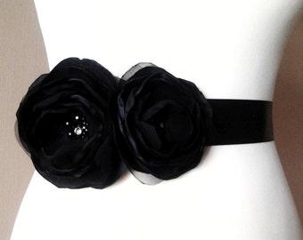Black Sash Black Wedding Sash Black Bridal Belt Black Goth Sash Black Wedding Black Accessory