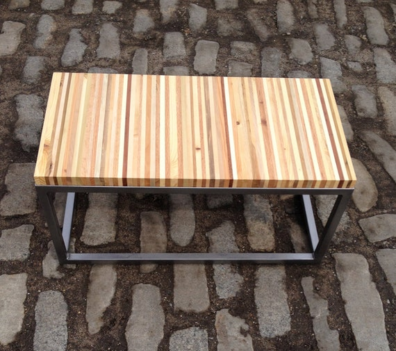 Reclaimed Pallet Wood And Industrial Steel Bench / By