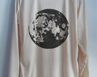 CLEARANCE Full Moon Vintage Longsleeve Art  T-Shirt Galaxy Shirt Shirt Women Shirt  Women T-Shirt Tunic Top Vest Sleeveless Size S,M,L