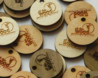 50 Product Tags - 1 Inch diameter, custom made to your specifications, laser cut and engraved