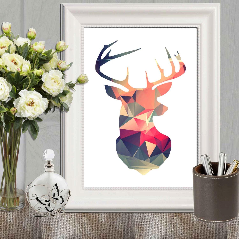 geometric deer printable retro wall art print triangle art