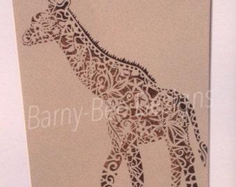 Giraffe Papercut Template, cut your own zoo animal safari art nursery
