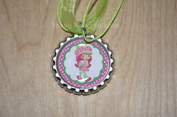 Strawberry shortcake necklace bottlecap with by for Strawberry shortcake necklace jewelry