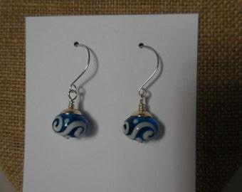 Blue Lampworked Earrings