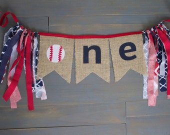 ONE Baseball First Birthday Navy Blue & Red Highchair Burlap Bunting Pennant Banner for Baby Boy Party Decoration, Photo Prop