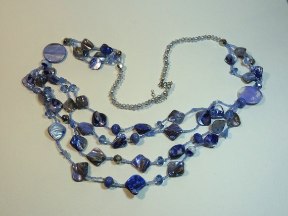 Vintage multi branch blue necklace with various styles beads and shell necklace