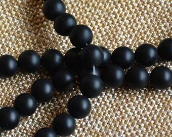 "8mm Matte Black Onyx Beads,Black Onyx Beads,Flat Black,Black Gemstone,Semi Precious,Boho Beads,Beads for Men's Jewelry,Strand,15.5"",MAN14-37"