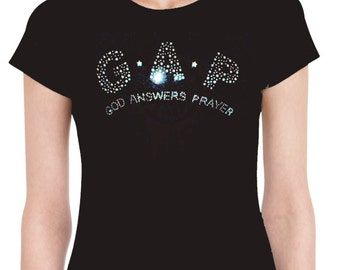 God Answers Prayer Rhinestone T-Shirt | Rhinestone T-Shirts | U.S. Custom Ink