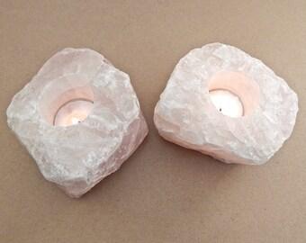 Pair of Raw Rose Quartz Candle Holders, Rose Quartz Votive Tea Lights
