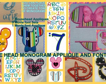 PES Monogram Mouse head pack mickey, minnie, movie script font, mouse ears appliques