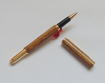 24ct. Gold Plated Dorchester Rollerball Pen Made with Exotic Bocote Wood