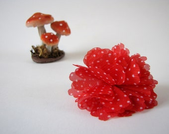 Pompon brooch - red with white polka dots - fabric pin - unique piece