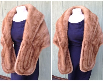 Vintage Auburn and Brown Colored Mink Fur Stole