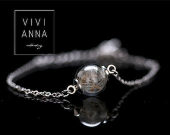 Silver bracelet with REAL DANDELION seeds A048