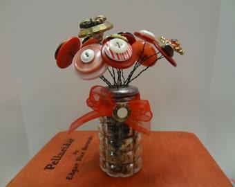Button Flowers in Vintage Salt Shaker-SUMMER SALE!