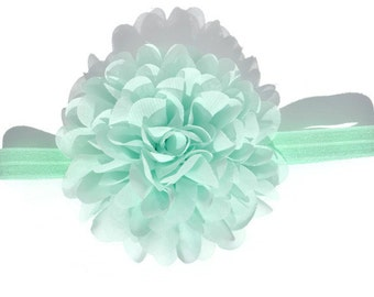 Big Flower Headband, Mint Flower Head Band, Baby Girl Hairband, Newborn Photo Props, 1st Birthday Outfit, Infant Hair Band, OTT Toddler Girl