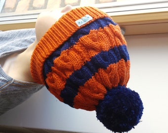 Orange & Navy Blue Hand Knit hat for kids, teens/ adults. Wool Cable knit pom pom beanie. Sizes 1-2-4-6-10+ years