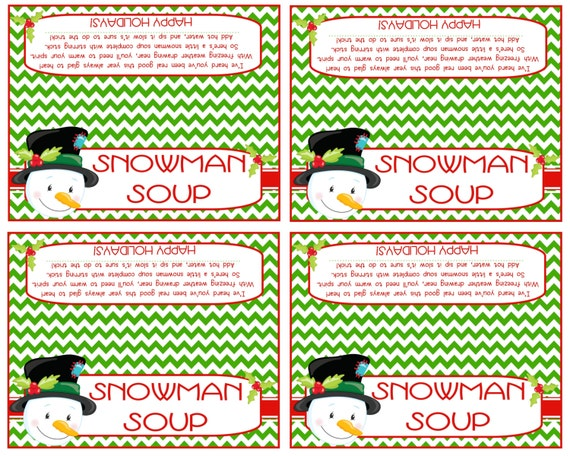 Crazy image inside snowman soup free printable bag toppers