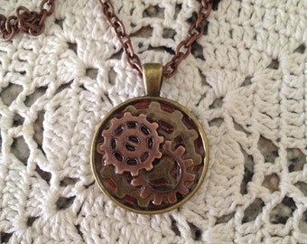 SteamPunk Gears Clockwork Mixed Metals Pendant