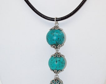 Turquoise And Sterling Silver Pendant Handmade Leather Statement Necklace
