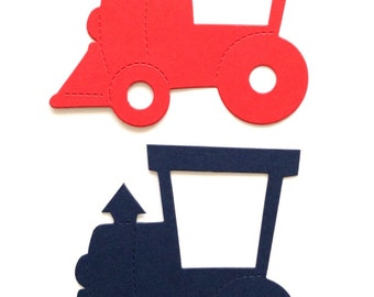 15 Largw Red & Blue Baby Boy Train die cuts for cards/toppers cardmaking-scrapbooking craft project
