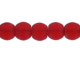 Red Frosted Glass Beads 6mm Cherry Ruby Red Spacer Beads Loose 20/50/100 3983