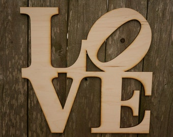Philadelphia Love Park wood cut wall hanging sign