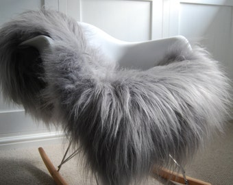 Silver Grey  genuine Icelandic Sheepskin Rug STUNNING! Chair cover , bed cover , carpet, throw, fur, luxury , Hygge, Nordic interior