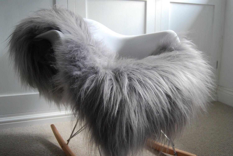 silver grey genuine icelandic sheepskin rug stunning chair