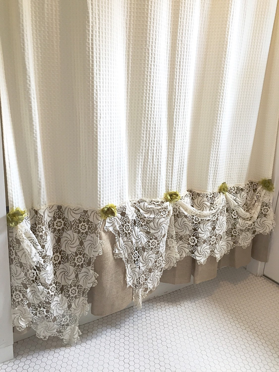 Burlap Ruffle Shower Curtain Natural Cream Cotton With Vintage