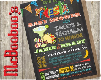 Tacos and Tequila Fiesta Baby Shower Invitations