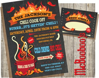 Chili cook off invitations on a chalkboard background