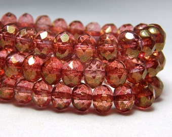 8x6mm Dark Pink Luster Czech Beads, Dark Pink Beads, Salmon Pink Beads, Pink Crystal Beads, Pink Rondelle Beads, Pink Faceted Beads T-78A