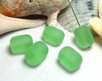 5 Light Green Sea Glass Beads, 13x10mm, Light Green Beads, Barrel Beads, Sea Glass, Green Glass Beads, Matte Beads, Beach Beads D-E45