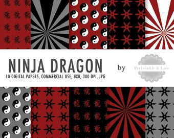 Red Ninja Dragon Themed Digital Paper - Commercial Use - Instant Download