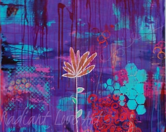 36x36 purple lotus flower abstract painting