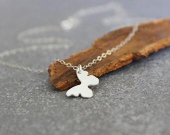 Tiny butterfly necklace, Silver tiny necklace, silver necklace, minimalist jewelry, dainty necklace.