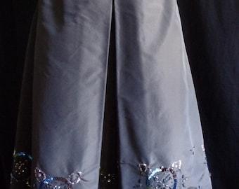 Vintage skirt beaded  grey silk knee length