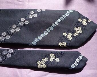 Vintage necktie man's tie navy blue brocade flowers
