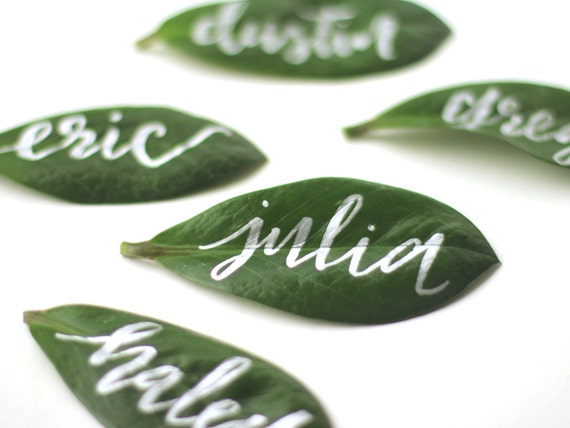 Hand calligraphied leaf place cards