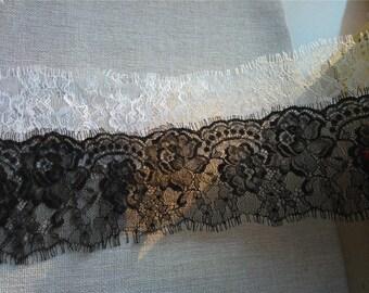 3.29USD FOR 3m*9cm black Chantilly Eyelash Lace Trim,off White Lace Trim, Antique Lace Trim, Crochet Lace for wedding dress