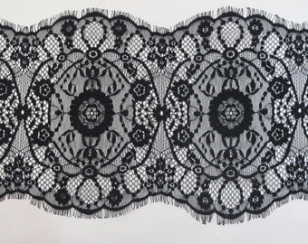 Chantilly Lace Fabric, Black Eyelash Lace Trim, Wedding Table Decor, off white  Floral lace fabric shawl-3051